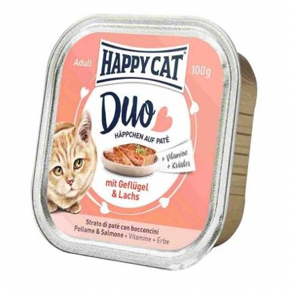 Happy Cat DUO MENU ar mājputnu un lasi 100g