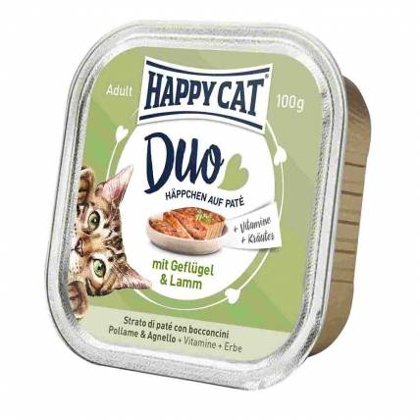 Happy Cat DUO MENU ar mājputnu un jēru 100g