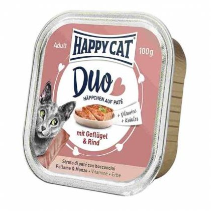Happy Cat DUO MENU ar mājputnu un liellopu 100g
