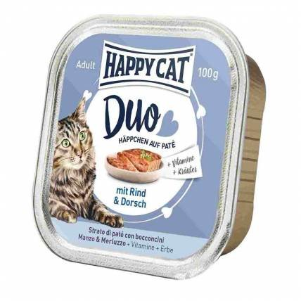Happy Cat DUO MENU ar liellopu un mencu 100g